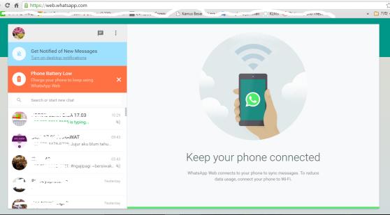 Tampilan whatsApp Web setelah terkoneksi dengan HP